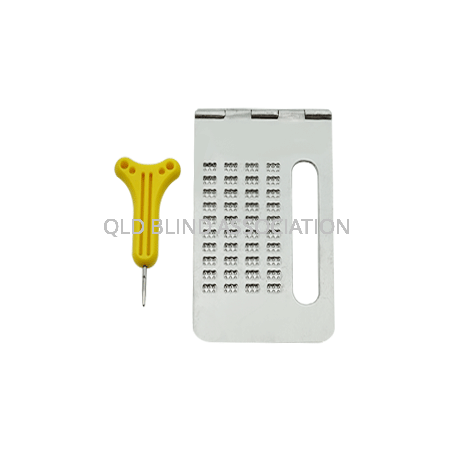 Braille Notetaker 4 Lines Metal With Signature Guide And Stylus