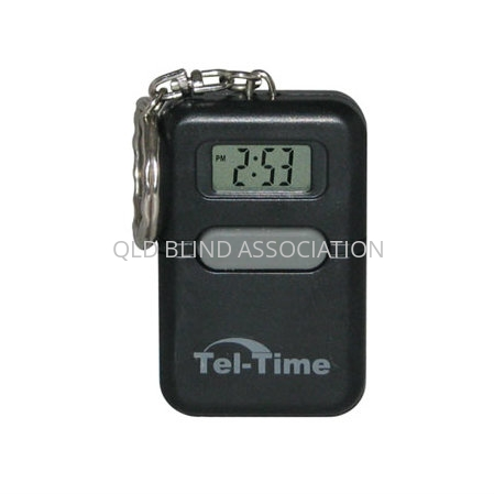 black talking keychain clock with grey centre button and small LCD screen.