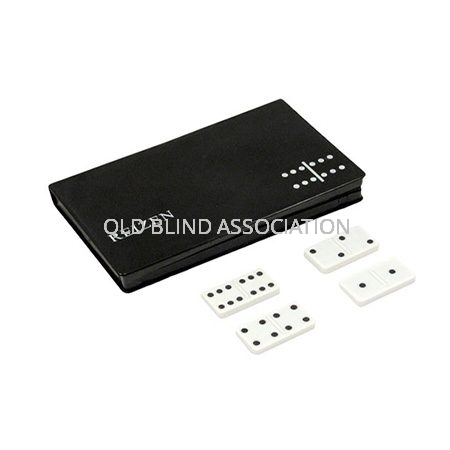 Dominoes Raised Dots Black On White With Carrycase
