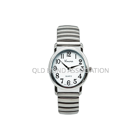 Ladies Large Print Chrome Tone Watch