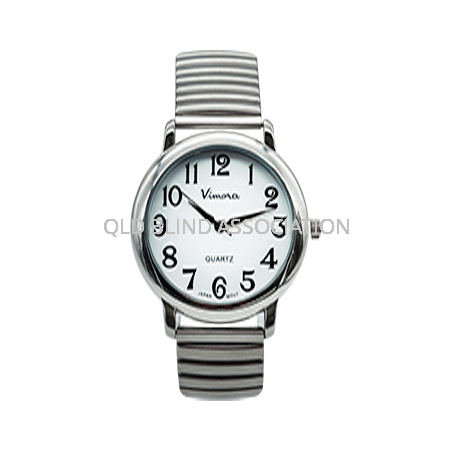 Large Print Chrome Tone Watch Stretch Band