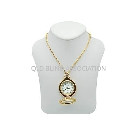 Large Print Gold Tone Watch With Chain