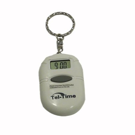talking keychain white oval with central grey button