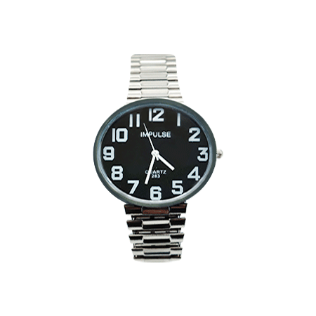 Unisex Large Print Watch Black Face Chrome Band