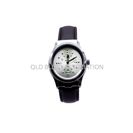 Mens Braille Chrome Tone Watch Leather Band