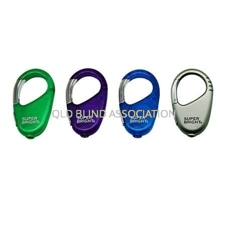 Four Colour Variations of the LED Carabiner Keychain