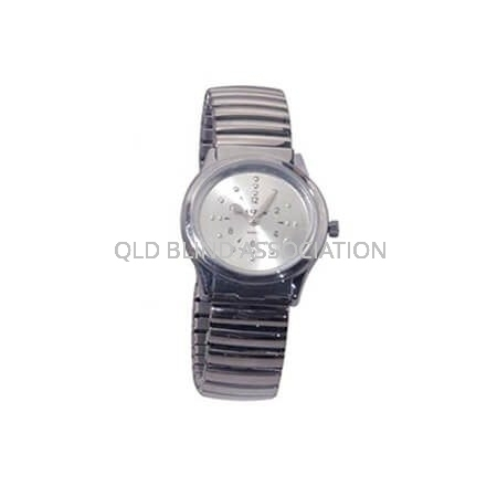 Mens Braille Chrome Tone Watch with Stretch Band