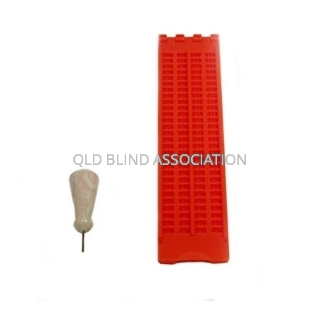 Braille Frame 4 Lines Red Plastic With Stylus