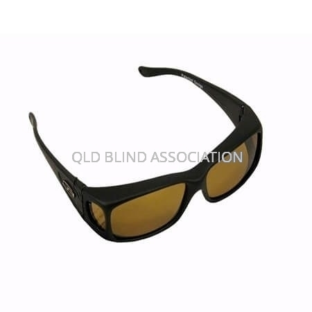 Razor Black Rubber Frame Gold Lens Fitover Small