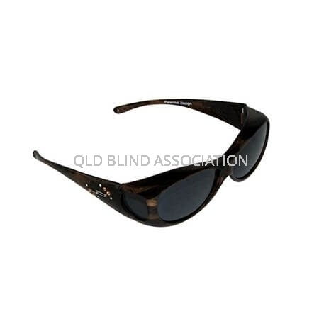 Glides Brushed Horn Frame Grey Lens Fitover Small