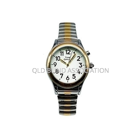 Ladies Two Tone Talking Watch with 1 Button and Stretch Band