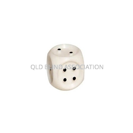 Dice 2cm White With Black Tactile Dots