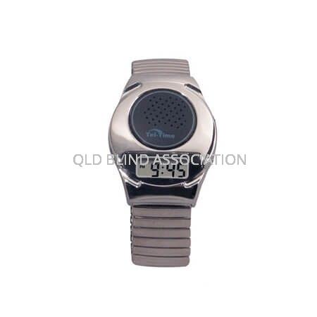 Digital Talking Watch Chrome Tone 1 Button Stretch Band