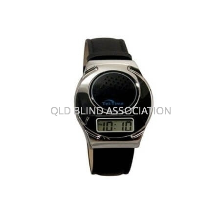 Digital Talking Watch Chrome Tone 1 Button Leather Band