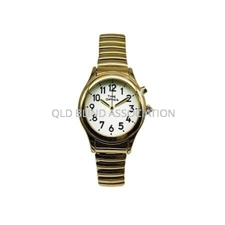 Ladies Gold Tone Talking Watch 1 Button Stretch Band