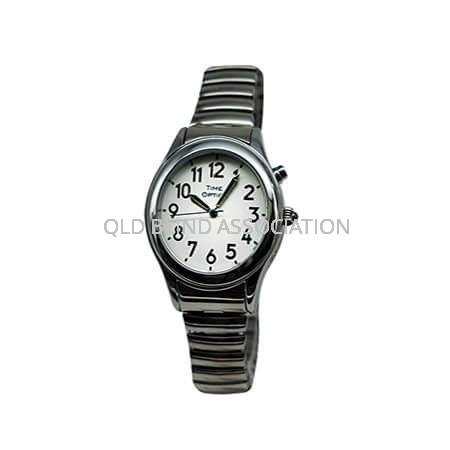 Ladies Silver Tone Talking Watch with 1 Button and Stretch Band