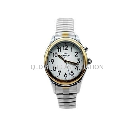 Mens Two Tone Talking Watch with 1 Button and Stretch Band