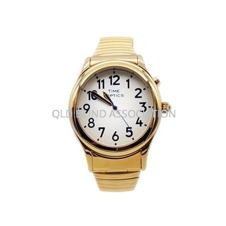 Mens Gold Tone Talking Watch with 1 Button and Stretch Band