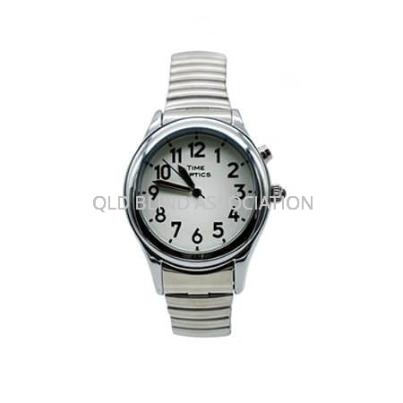 Mens Silver Tone Talking Watch 1 Button Stretch Band