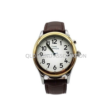 Mens Two Tone Talking Watch with 1 Button and Brown Leather Band