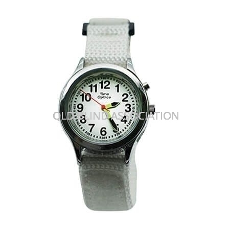 Youth Talking Watch with 1 Button and Velcro Band in White