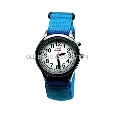 Youth Talking Watch with 1 Button and Velcro Band in Light Blue