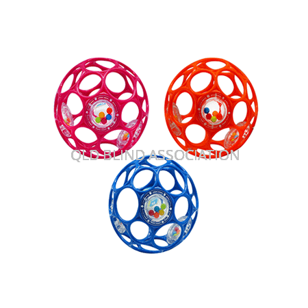 Three colour variations of the OBall With 3 Rattles
