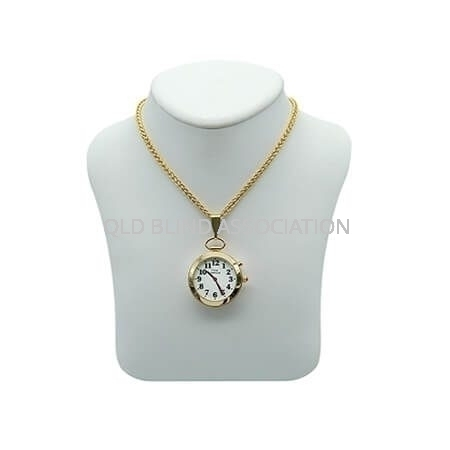 Ladies Gold Tone Talking Watch 1 Button Pendant
