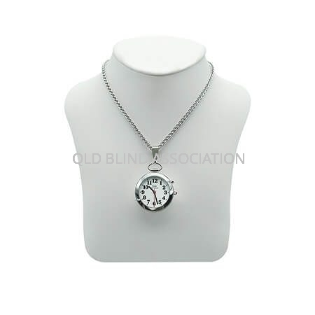 Ladies Silver Tone Talking Watch with 1 Button Pendant