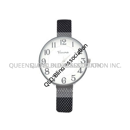 Ladies Large Print Watch with a dark grey mesh band