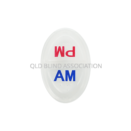 """Daily Braille Pill Box with """"AM"""" in blue on one side and """"PM"""" in red on the other side"""