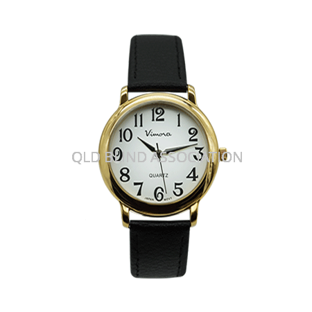Large Print Gold Tone Watch Leather Band