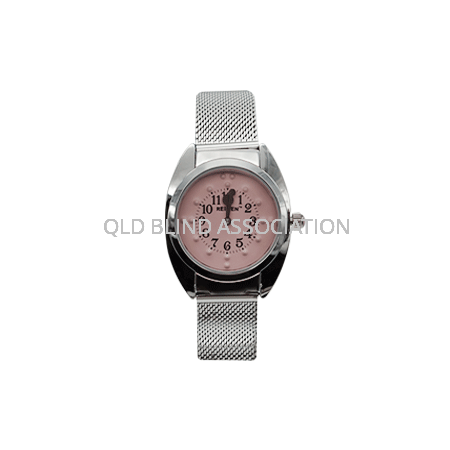 Ladies Braille Chrome Tone Watch Pink Face Mesh Band