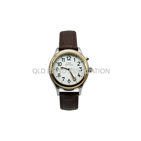 Ladies Two Tone Talking Watch 1 Button Brown Leather Band