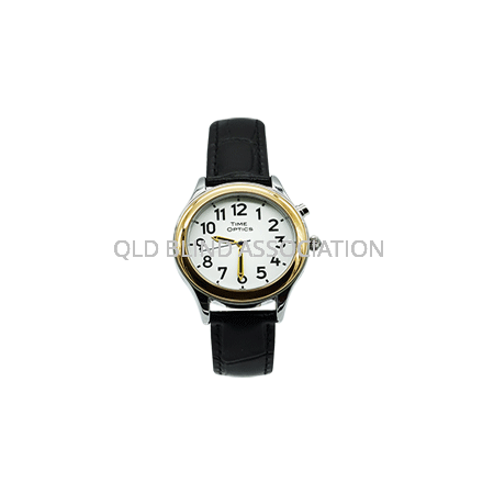 Ladies Two Tone Talking Watch 1 Button Black Leather Band