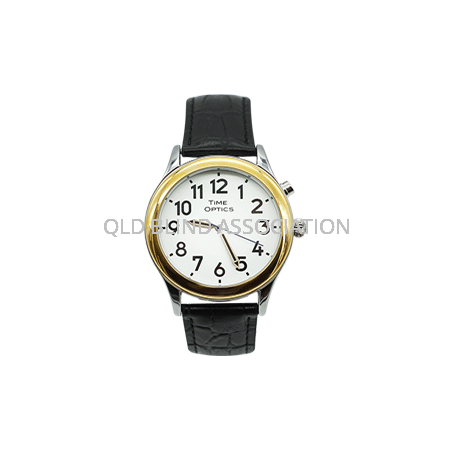 Mens Gold Tone Talking Watch 1 Button Black Leather Band