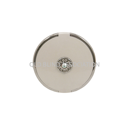 5x Compact Mirror with Swarovski Crystals on Top in Pearl
