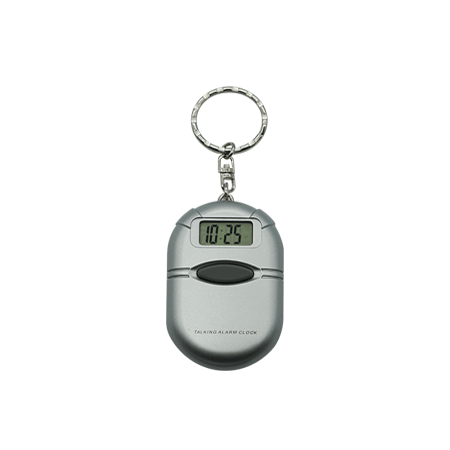 Silver Talking Keychain Clock