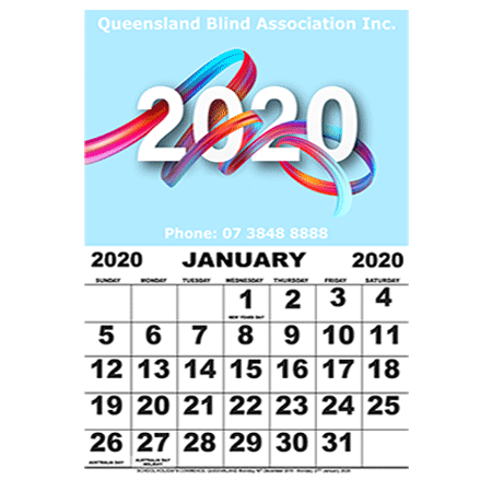2020 Large Print Yearly Calendar