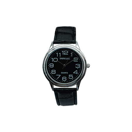 low vision mens watch black face with white numbers