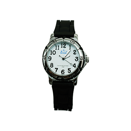 mens low vision watch with white face and black numbers