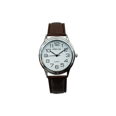 large print mens watch with brown leather band