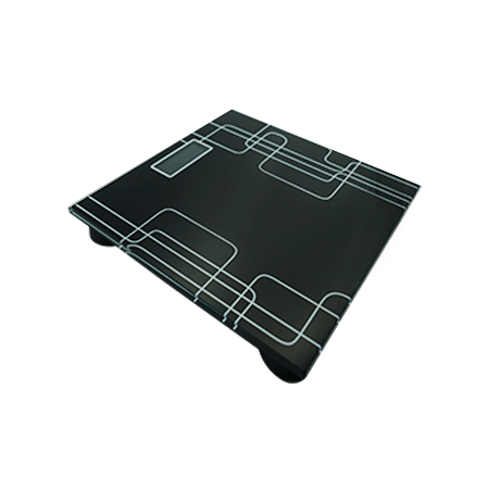 electronic talking bathroom scales. black bathroom scales with a small digital screen.