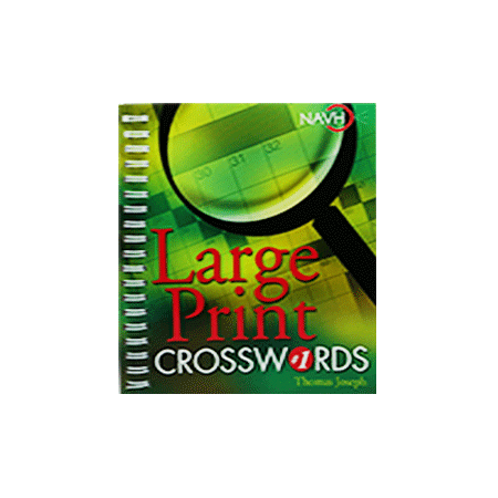 front cover of large print crossword book. features green and yellow design with a magnifying glass over a crossword puzzle.