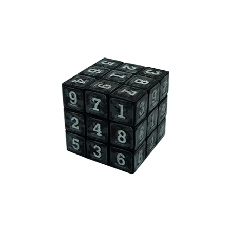 Black sudoku cube with braille and visual numbers