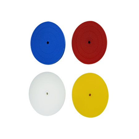blue, red, white, and yellow round plastic card holders