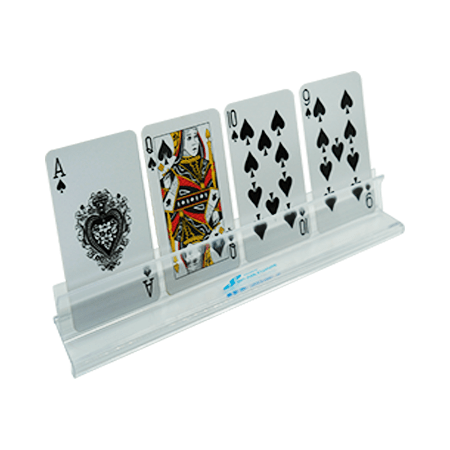 clear plastic card holder displaying four cards