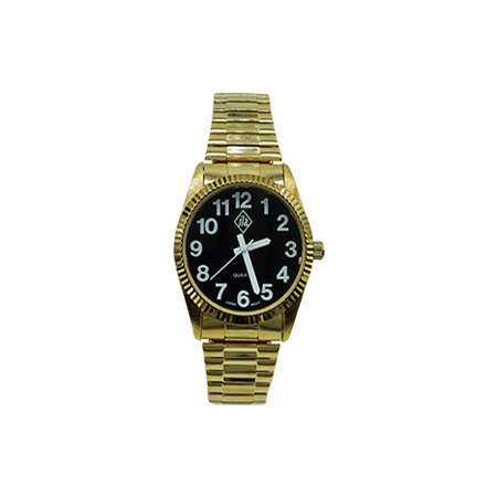 gold tone mens watch with black face and white numbers. stretch band.