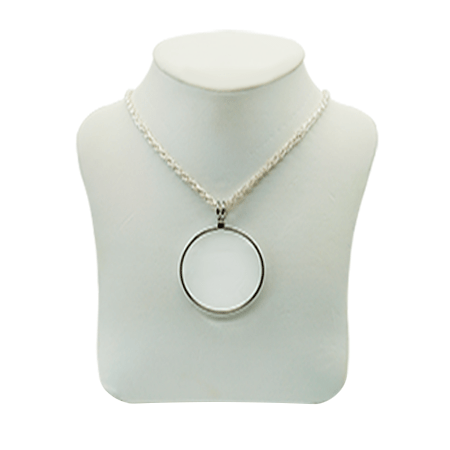 pendant magnifier with silver chain and silver frame. 6x magnification. 40 mm